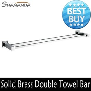 Frete grátis ( 60 cm ) duplo Bar toalha titular toalha latão feito Chrome banho terminado ProductsBathroom Accessories-94009