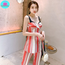 цена на 2019 summer new striped strap double-breasted tube top + high waist slim wide leg pants suit Knee-Length  Zippers