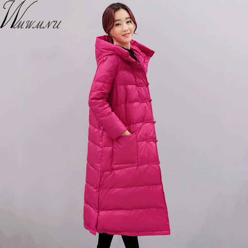 Wmwmnu 2017 new Down jacket winter women with hood white duck down   parka   winter coat women warm long jacket loose coat