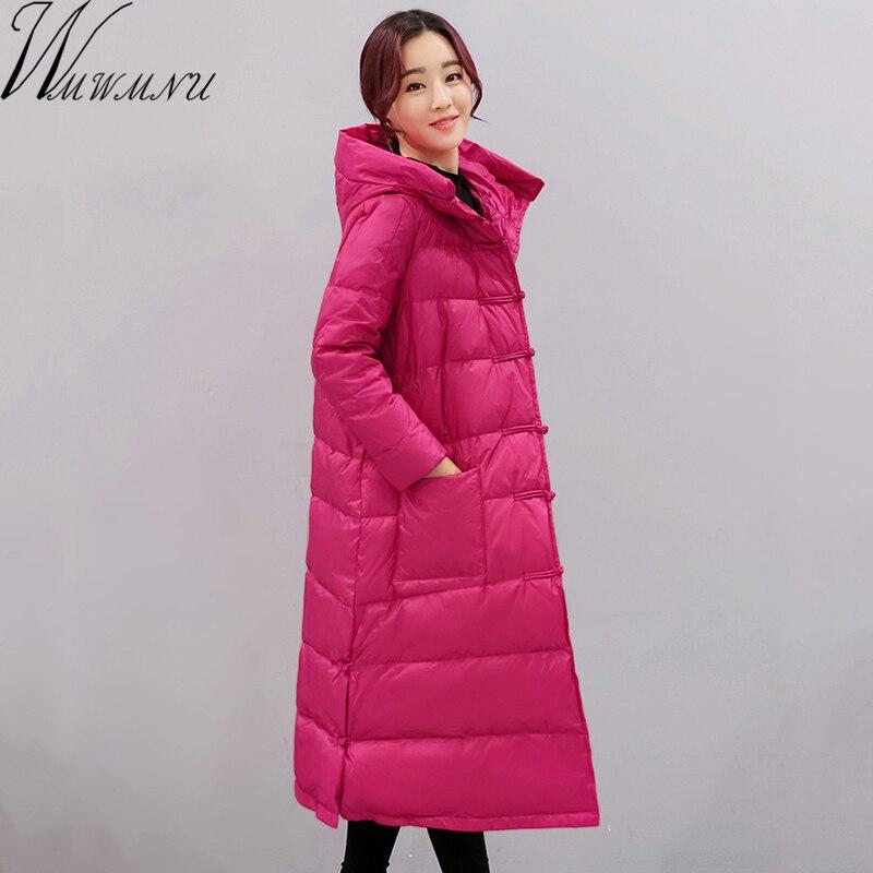Wmwmnu 2017 nouvelle doudoune hiver femmes avec capuche blanc canard vers le bas parka hiver manteau femmes chaud longue veste lâche manteau