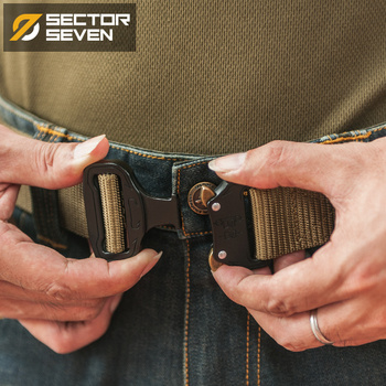 Sector Seven Rapid Release Belt Men's Tactical Heavy Duty Nylon Knitted Belt Military Combat Waist Belt EDC military web belt 1 5 inch rapid release gun belt tactical nylon duty belt with buckle multifunctional gear outdoor equipment