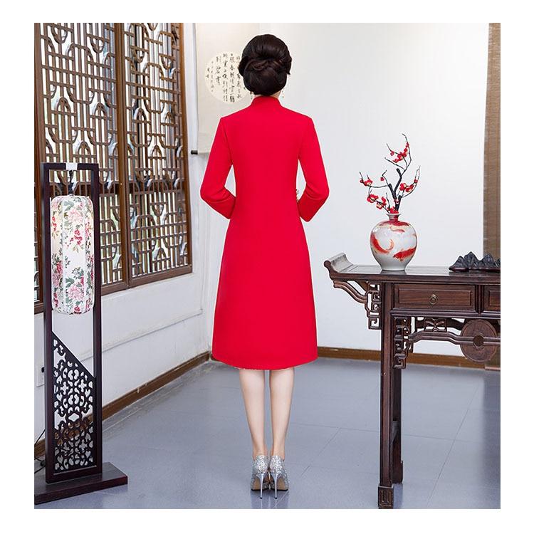 Новое поступление осень зима Китайская традиционная Женская 2 шт Qipao шерсть чеонгсам Новинка китайское торжественное платье Размер M L XL XXL