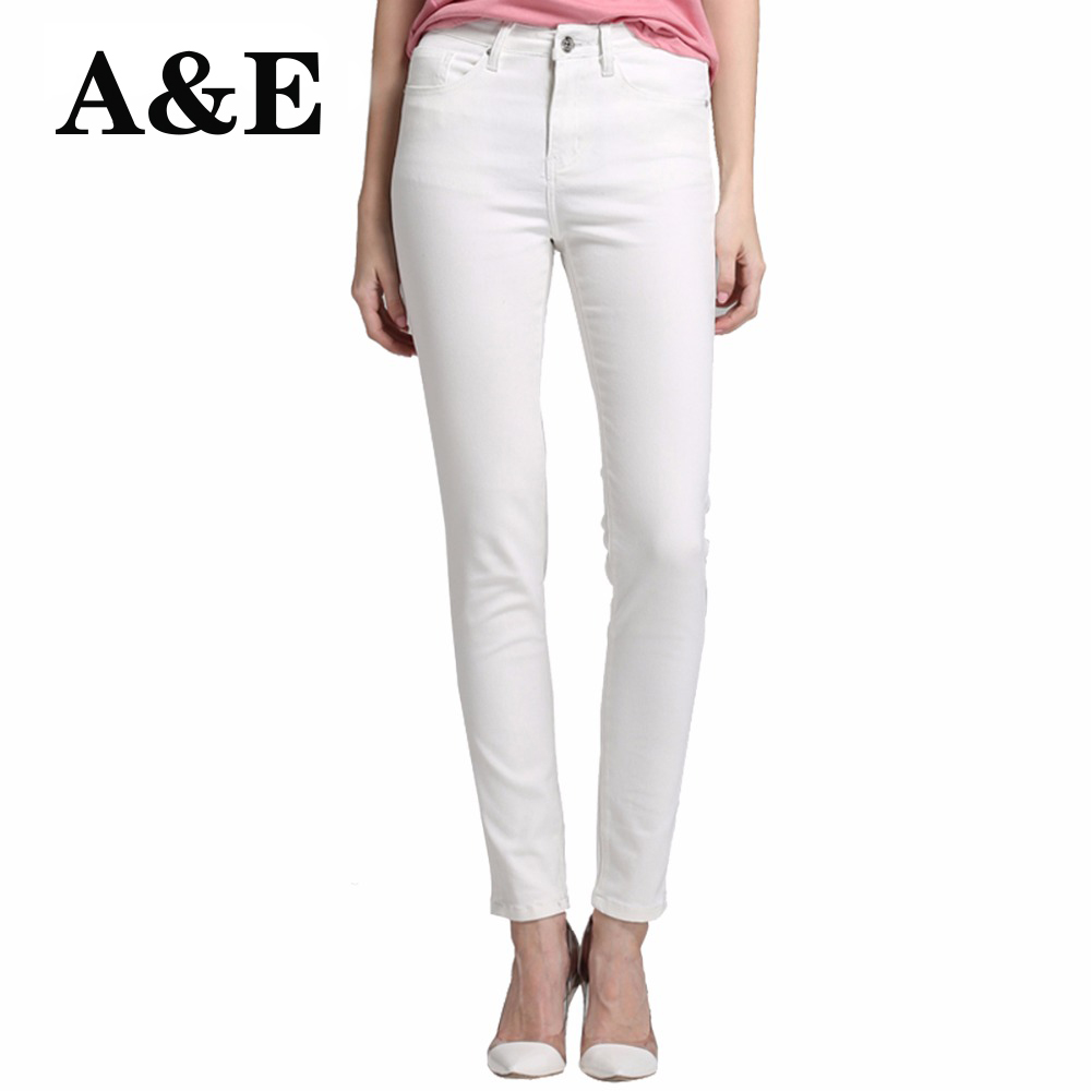 Alice & Elmer Skinny Jeans Woman Jeans For Girls Jeans Women High Waist Stretch Jeans Female Pants  Shortened White