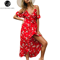 Lily Rosie Girl Off Shoulder Ruffle Red Print Summer Dress Women Strap Beach Boho Party Sexy