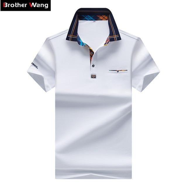 f55c8125b00ae 2017 Nova Camisa POLO dos homens de Cor Hit Da Moda Malha Gola Casual Pure  Color