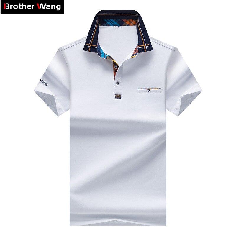 2017 Nuovi Uomini di POLO Camicia Colpo di Modo di Colore Reticolo Collare Colore Puro Casuale Paul Camicia di Marca Polo Uomo abbigliamento