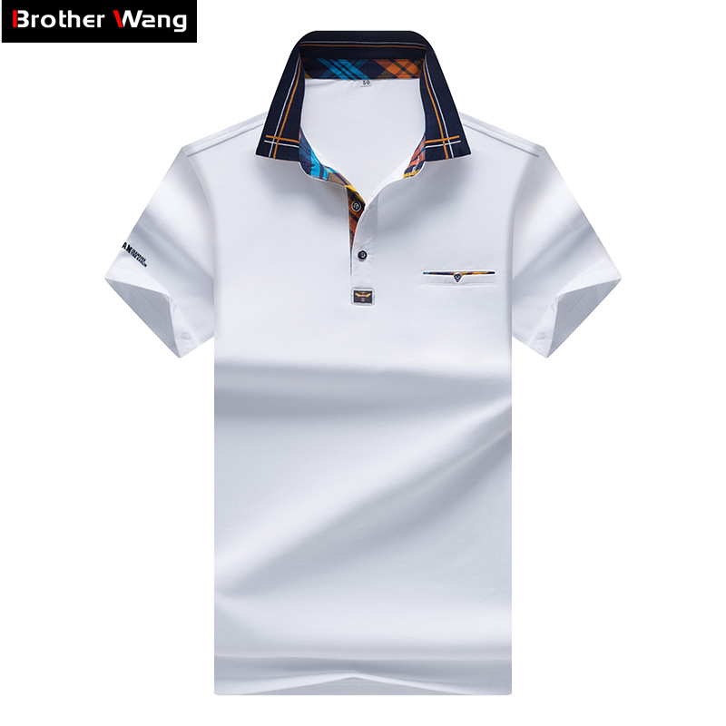 2020 New Men's POLO Shirt Fashion Hit Color Lattice Collar Casual Pure Color Paul Shirt Brand Polo Shirt Men's Clothing