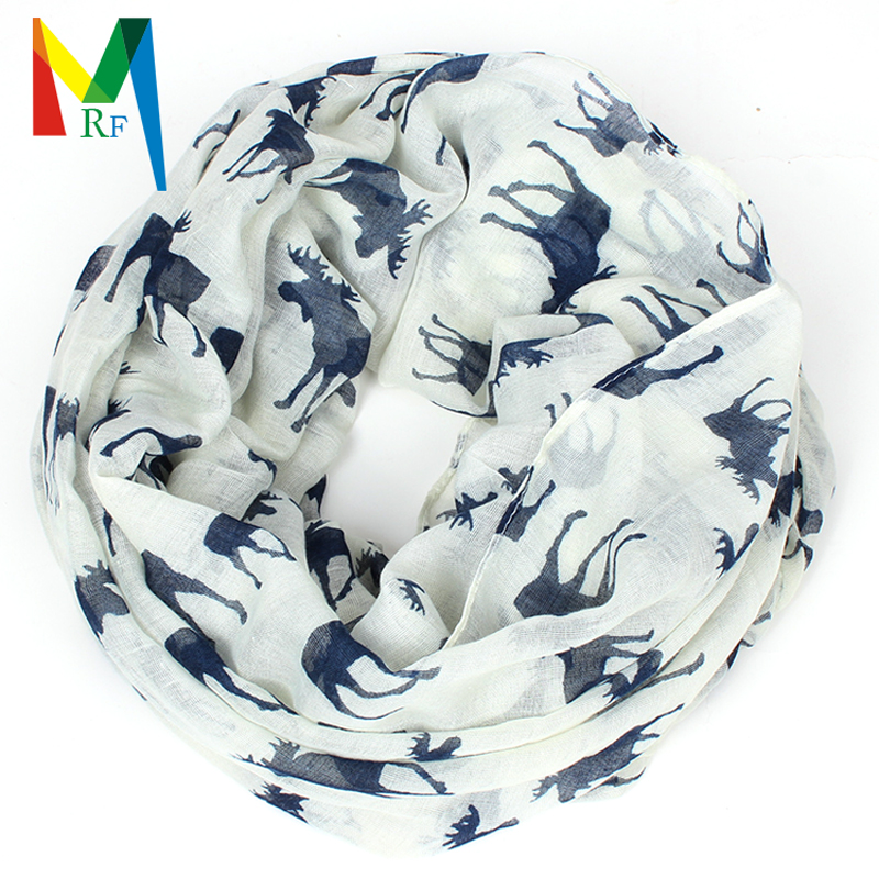 Moose infinity scarf Women print for Christmas kerchief tippet gift elk hijab foulard femme shawls and