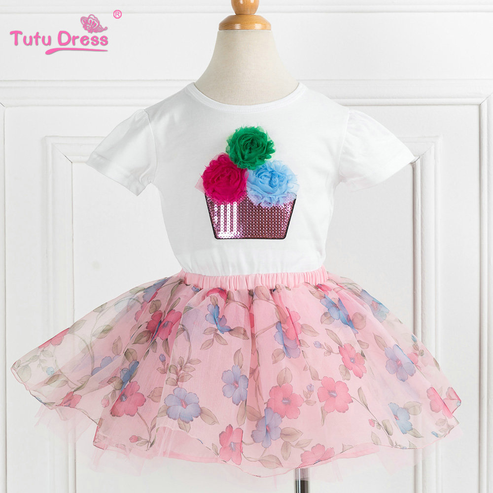 Two pieces Kid Girl Clothing Set Flower T-shirt+ Tutu Skirt Children Summer Set For 2-12 Girls Outfits Party Prom ladybug evening set t shirt tutu skirt and headband girl children sets for birthday festival party cosplay evening clothing p57