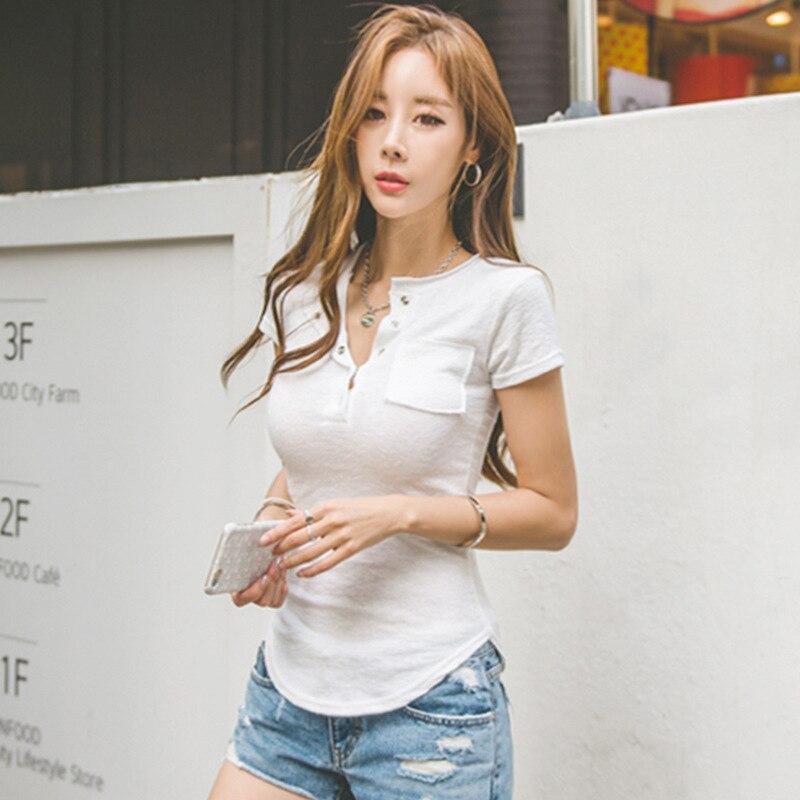 Shintimes 2017 Summer T Shirt Women Tops Sexy Slim Cotton Short Sleeve Button Pockets Patchwork Pink
