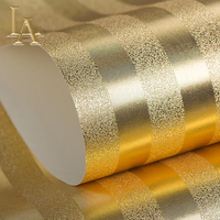 Luxury Gold Silver Metallic Textured Striped Wallpaper Modern Design Waterproof Embossed Gold Foil Decorative Wall Paper