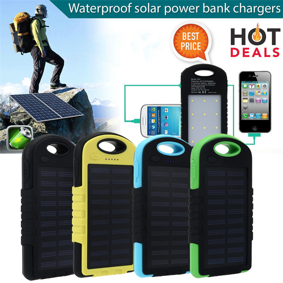 10000mAh Portable Waterproof Solar Charger Dual USB External Battery Power Bank For Cell Phone Accessories USB Cable
