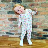 New Spring Autumn New Baby Clothing Colorful Dot Rompers Baby Girls Boys White Zipper Jumpsuit Newborn