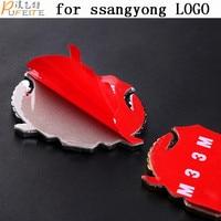 2 Pcs Metal Stickers Ssangyong ActYon Korando Rexton DIY 3D Chromed Car Sticker Logo Car Emblem
