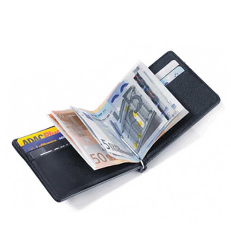 Cartera de cuero genuino de marca para hombre, cartera delgada para organizador de dinero, cartera con Clip para viaje