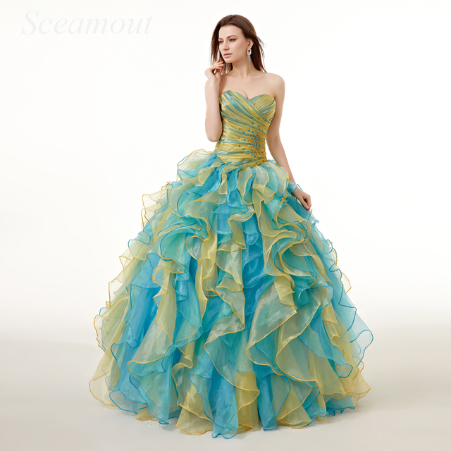 13d0855001 Sweetheart Rainbow Colored Quinceanera Dresses Bling Crystal Beaded Tulle  Ruffle Skirt Ombre Ball Gown Sweet 16 Prom Dress