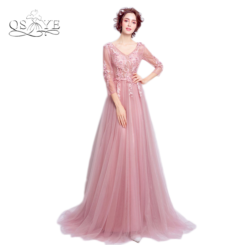 New Dusty Pink Long Prom Dresses 2017 A line V Neck Long Sleeve 3D ...