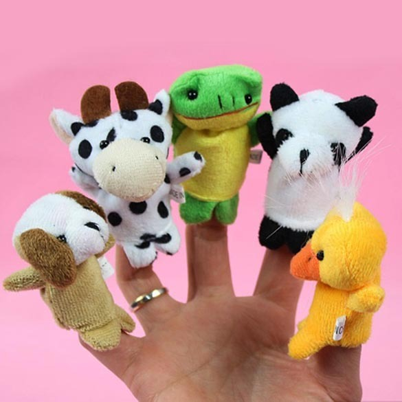 10pcs Cartoon Biological Animal Finger Puppet Plush Toys Child Baby Favor Dolls Baby Kids Children Gift Toy Free Shipping
