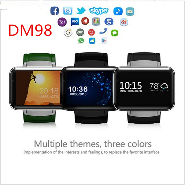 US $81 18 15% OFF| DM98 Bluetooth Smart Watch 2 2 inch Android 5 1 OS 3G  Smartwatch Phone MTK6572 Dual Core 1 2GHz 4GB ROM Camera WCDMA GPS-in Smart