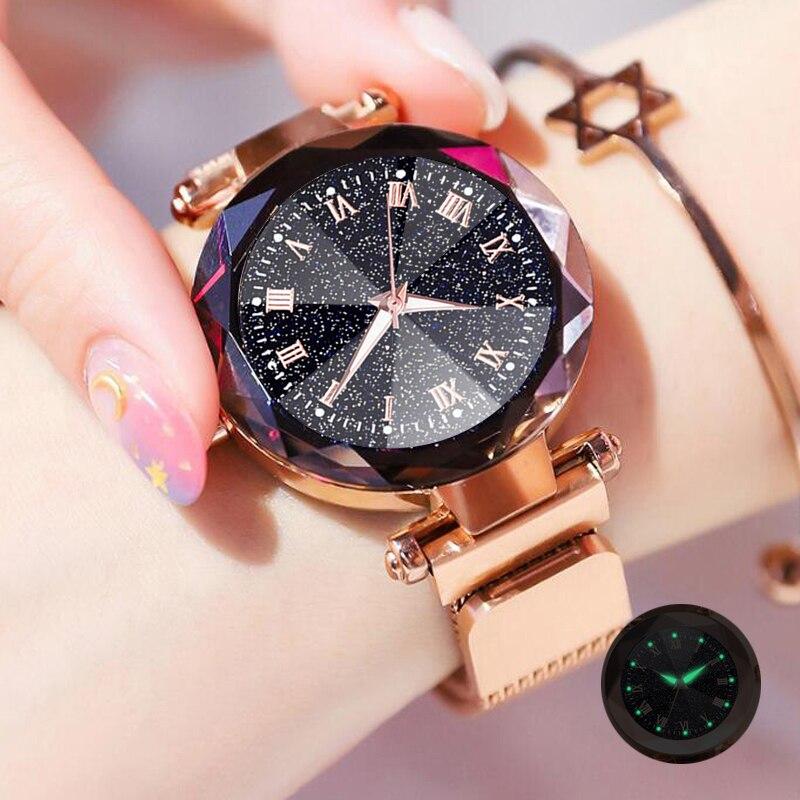 Luxury Bracelet Quartz Watches For Women Ladies Magnetic Starry Sky Watch Fashion Diamond Quartz Clock Zegarek Damski Relogio
