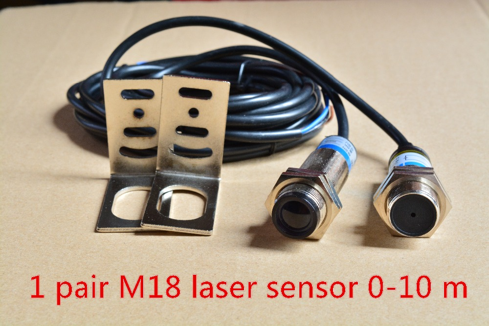 1pair M18 laser photoelectric sensor optoelectronic switch NPN or PNP DC10-30 detection distance 0 -10 meters  цены