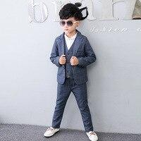 2018 Boys Blazer Suit Kids Blazers for Weddings Party Gentleman Baby Boys Suit 3pieces Coat+Vest+Pants Boys Clothing 3 10T