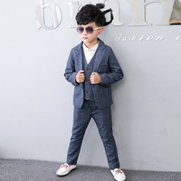 2018 Boys Blazer Suit Kids Blazers for Weddings Party Gentleman Baby Boys Suit 3pieces Coat+Vest+Pants Boys Clothing 3 10T