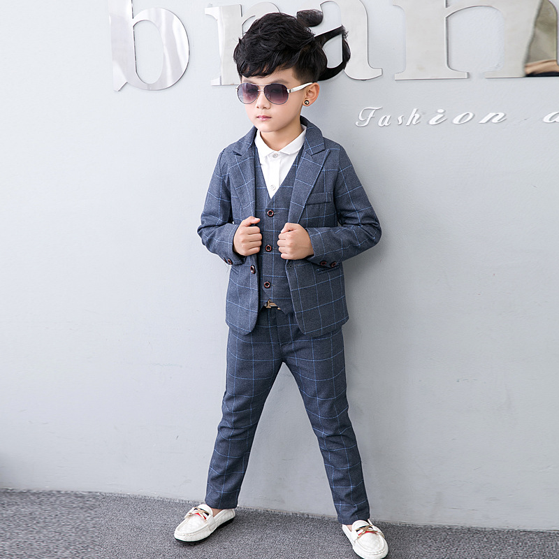 2019 Boys Blazer Suit Kids Blazers for Weddings Party Gentleman Baby Boys Suit 3pieces Coat+Vest+Pants Boys Clothing 3 10T