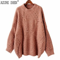 AZURE SHEN Winter Loose For Women 2018 Spring Casual Pullover Logn Sleeve Hollow Out Thick