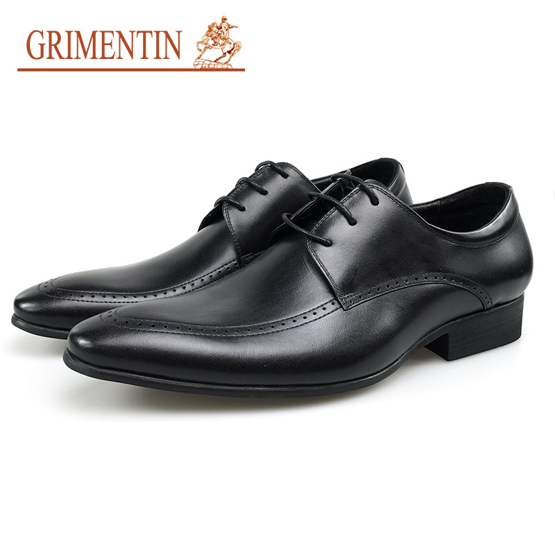 GRIMENTIN Men Dress Shoes Luxury Business Oxford Shoes Genuine Leather Pointed Toe Formal Man Wedding Shoes Black