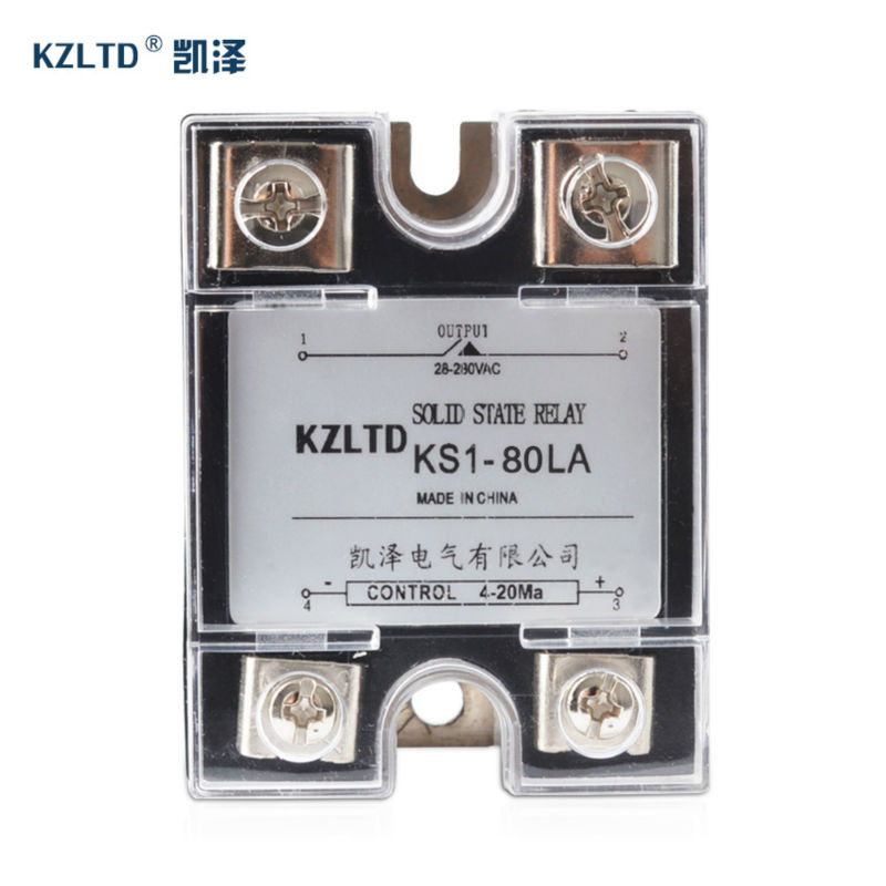 SSR-80LA Voltage Regulator 4-20MA to 28~280V AC Output Solid State Relay Single Phase rele 220V 80A Quality Guarantee KS1-80LA normally open single phase solid state relay ssr mgr 1 d48120 120a control dc ac 24 480v