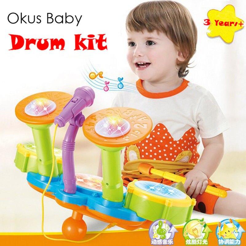 Ensemble de batterie musicale pour bébé éducatif jouets Kit de batterie de Jazz pour enfants jouets musicaux à Percussion électronique cadeau de noël