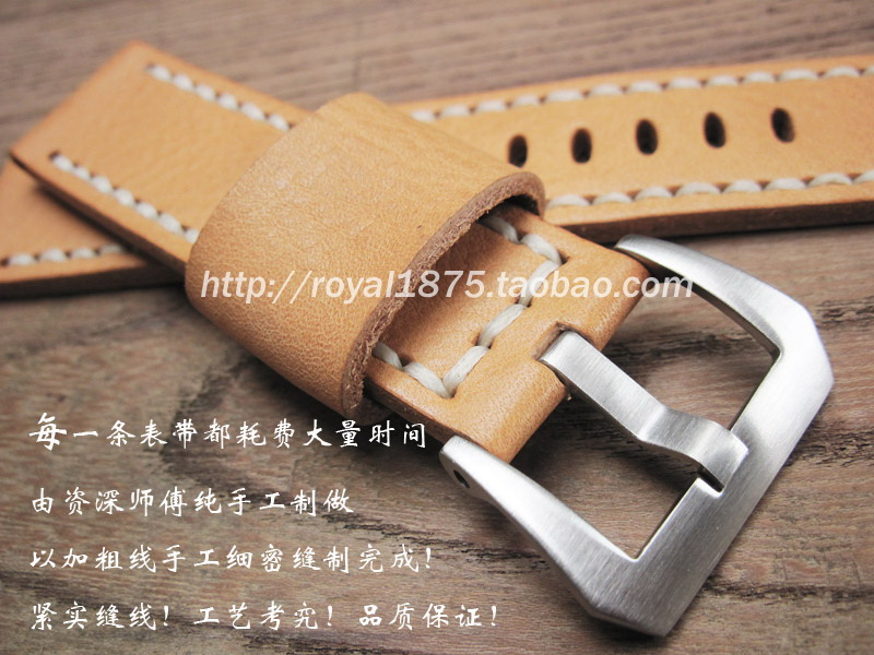 Hand made Men Yellow brown Calfskin Leather High Quality Genuine Leather Watchband Watch Strap 22mm thick straps