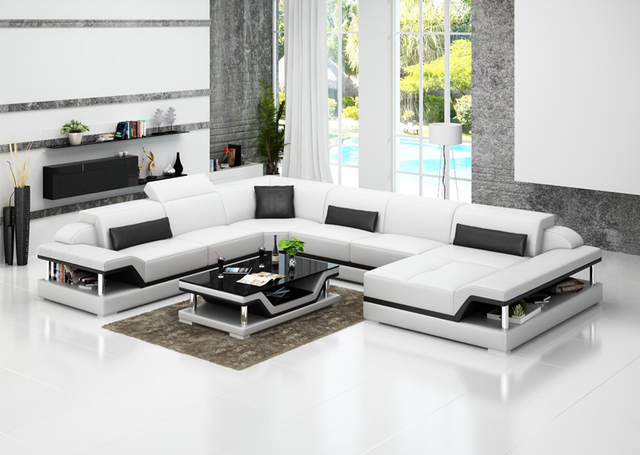 Chinese Top Grain Leather Sofa Set Living Room Sofa 0413 G8004 Part 59