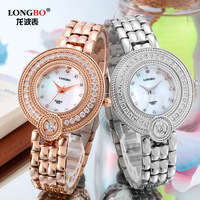 Luxuyr Brand LONGBO Rose Gold Stainless Steel Watch Female Fashion Retro Handmade Crystal High Grade Diamond Ladies Watches