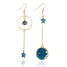 Space Universe Star Moon Earrings Amazing Planet Drop for Girls Asymmetric For Women Girl