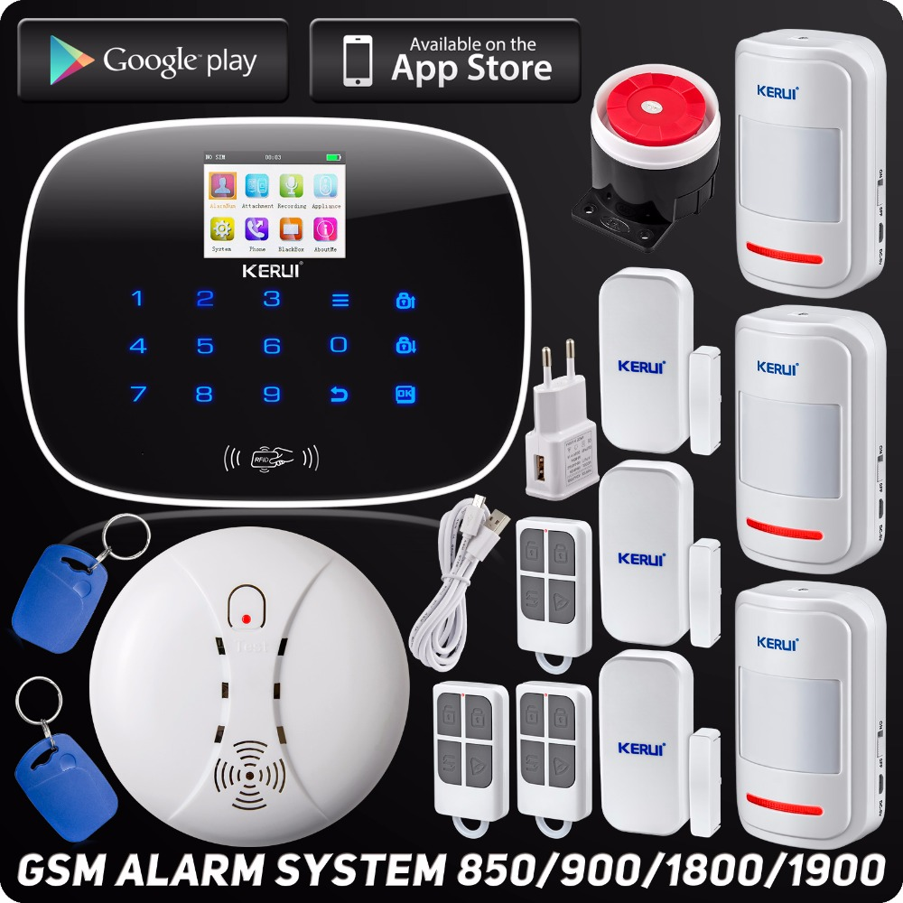 Wireless GSM Voice Home Burglar Security Alarm ISO Android App Control Autodial TFT Color Display Wireless Smoke Detector kerui wireless wired gsm voice burglar home house security alarm app control tft touch panel wireless smoke detector pir sensor