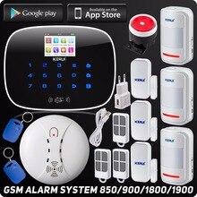 Беспроводной Gsm Главная Охранной Охранной Сигнализации ISO Android App Control Автодозвон TFT Цветной Дисплей Беспроводной Детектор Дыма