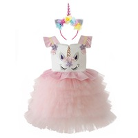 2pcs Set Baby Kids Smash Unicorn Dress Up Birthday Cake Smash Outfit Unicorn Cosplay Custom Evening Party Princess Dress Girls