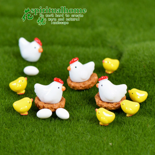 ZOCDOU 10 Pieces Hen Chicken Chick Egg Nest Small Pasture Statue Figurine Micro Crafts Ornament Miniatures DIY Home Garden Decor 6