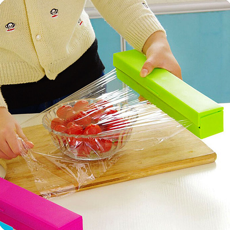 Colourful Kitchen Gadgets Foil & Cling Film Wrap Dispenser Cutter Storage Holder Plastic Box