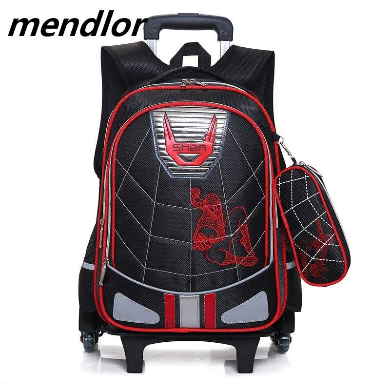 Sacs à roulettes imperméables garçons d'école 2018 sac à dos de chariot amovible école enfants grande capacité sacs de livre sac de bagage de voyage