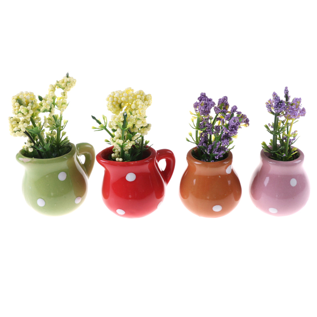 Lvoely 4 Colors Dollhouse Miniature Flowers Vase Flowers Pot Planter