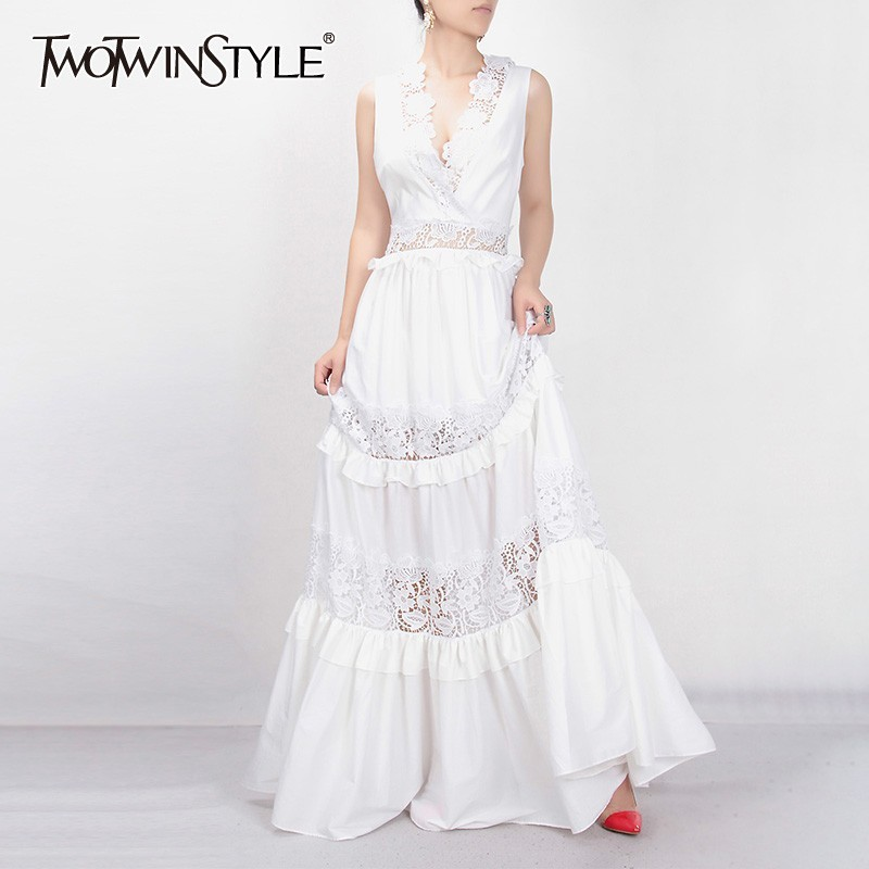 TWOTWINSTYLE Elegant Embroidery Long Dress For Women V Neck Sleeveless High Waist Ruffles Hollow Out Maxi