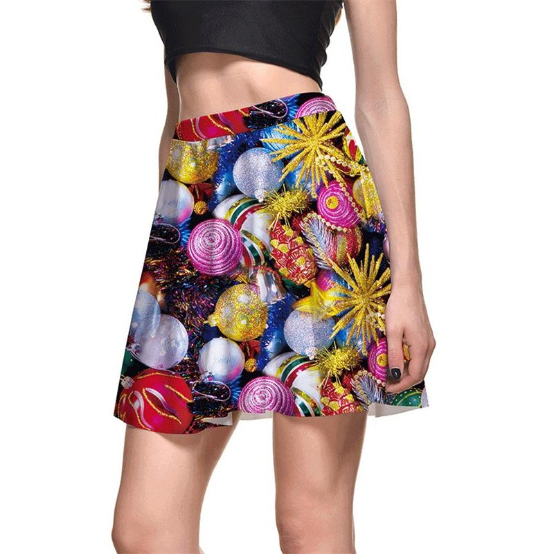 Colorful Christmas eggs Women Sexy Pleated Skirts Tennis Bowling Bust Shorts Skirt Girls Female font b