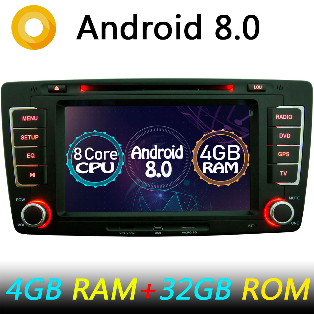 4gb ram octa core android 8 0 car dvd player for skoda. Black Bedroom Furniture Sets. Home Design Ideas