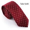 Sastre Smith Rojo de Diseño de Lunares Corbata de Seda Pura De Lujo Jacquard Hombres Corbata Corbata Formal de Negocios Juego de la Boda de Accesorios