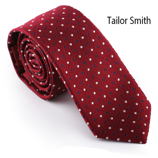 Tailor Smith Red Polka Dot Designer Necktie Luxury Pure Silk Jacquard Tie Formal Business Wedding Suit Accessory Mens Cravat