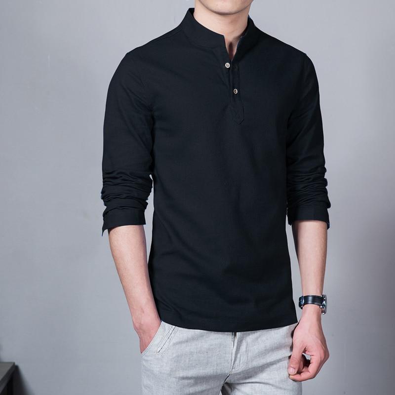 2017 fashion long sleeve men 39 s shirts male casual linen for Plus size men shirts