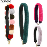 New Patchwork Color Fur Design Women Handbags Strap Trendy Strap Bags Chic Leather Shoulder Strap Matching Bag Accessories